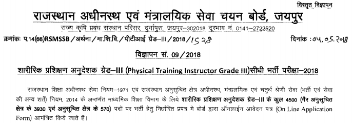 RSMSSB Physical Training Instructor Recruitment