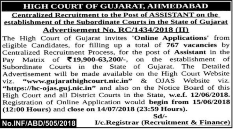 Gujarat high Court Assistant Bharti