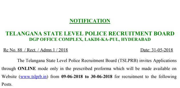 Telangana Police Recruitment