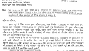 DBRAU Agra University Date Sheet 2019 For BA B com BBA B sc