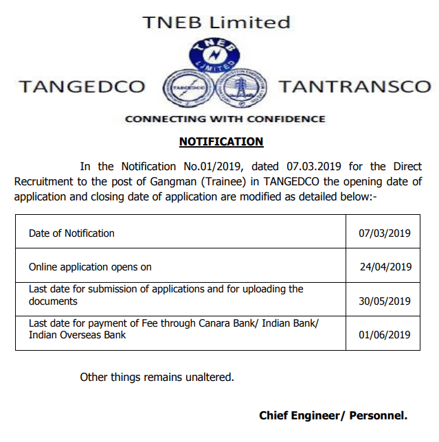 TANGEDCO Gangman Recruitment 2019