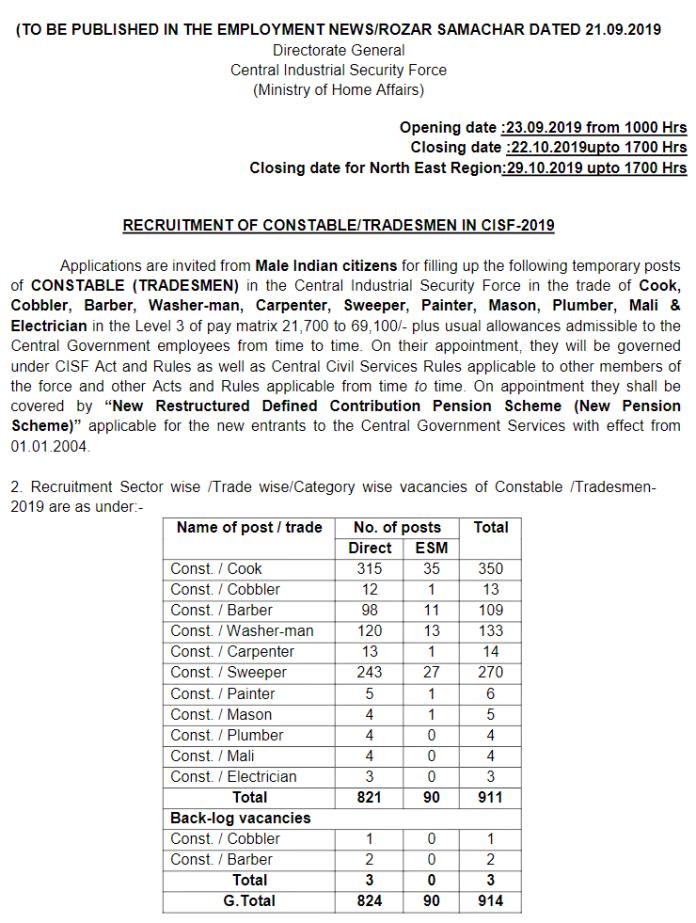 CISF Tradesmen Recruitment
