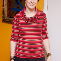 Sparkly Striped Cowl Neck Renfrew Top