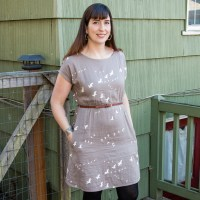 Staple Dress #2- Birds in Flight Double Gauze