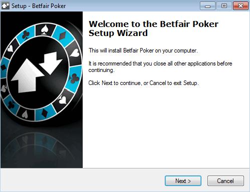 Betfair download setup process.