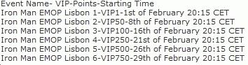Betsson EMOP Lisbon Tournament Schedule