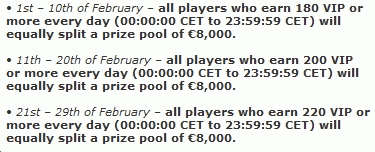 Betsson Februarary Endurance Requirements & Prizes