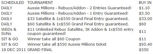 Black Chip Poker Aussie Millions Satellite Schedule