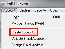 Full Tilt Poker download and account creation.