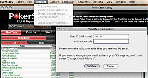 Validate your new Poker Stars Mac account.