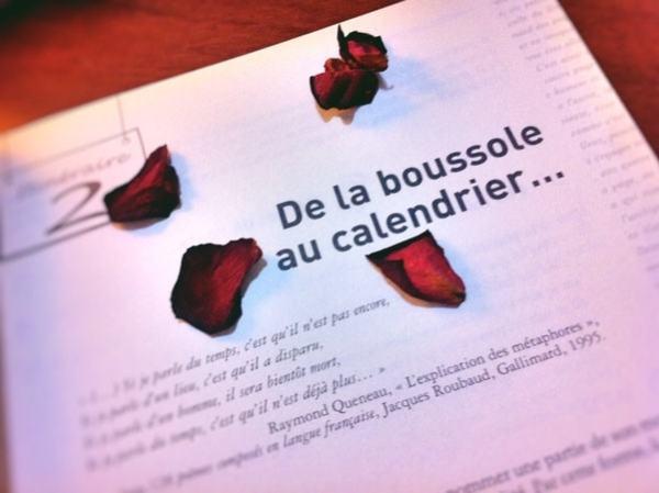 Boussole Calendrier Page livre pétales de rose rouge