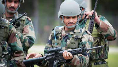 Indian Army Jawan with an assault rifle