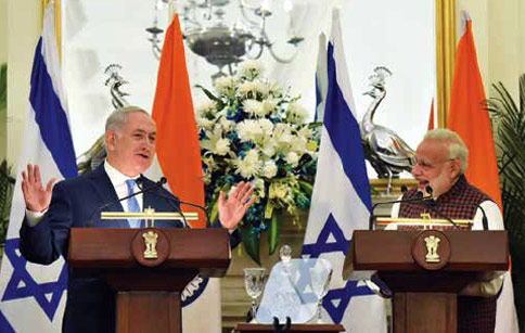 Mr Modi and his Israeli counterpart during the joint statement