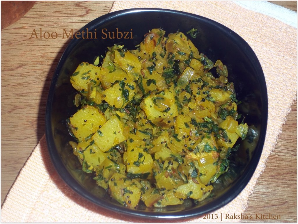 Aloo Methi Subzi ,Potato Fenugreek Stir Fry