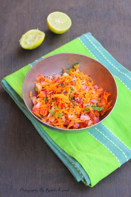 Salad with grated carrot, tomato , onion, chia seeds, weight loss salad