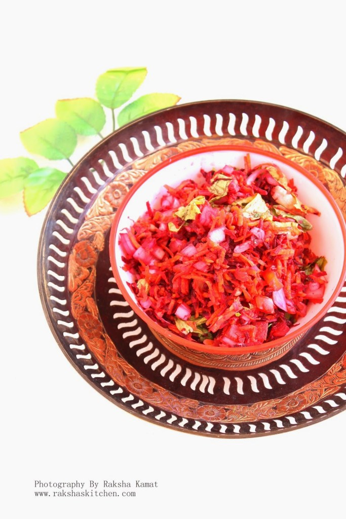 Healthy Salad With Beet, Carrot, Tomatoes And Onions