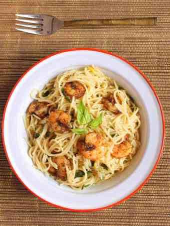 Lemon Pasta With Roasted Shrimps, lemon pasta, lemony pasta, shrimp pasta