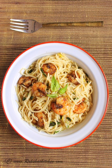 Lemon Pasta With Roasted Shrimps