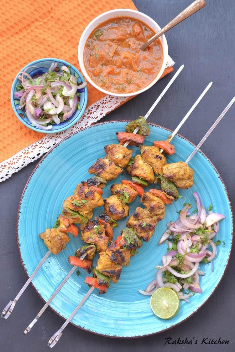 Chicken Tikka Kebab, Chicken Tikka Kebab Made Using TTK Prestige Charcoal  Barbecue, Chicken Tikka