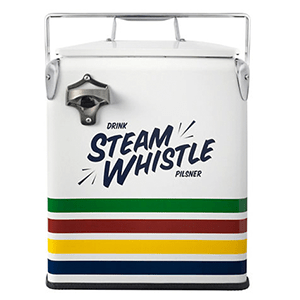 Shop this retro style Hudsons Bay x Steam Whistle Cooler. Perfect to keep your drinks cold all summer long