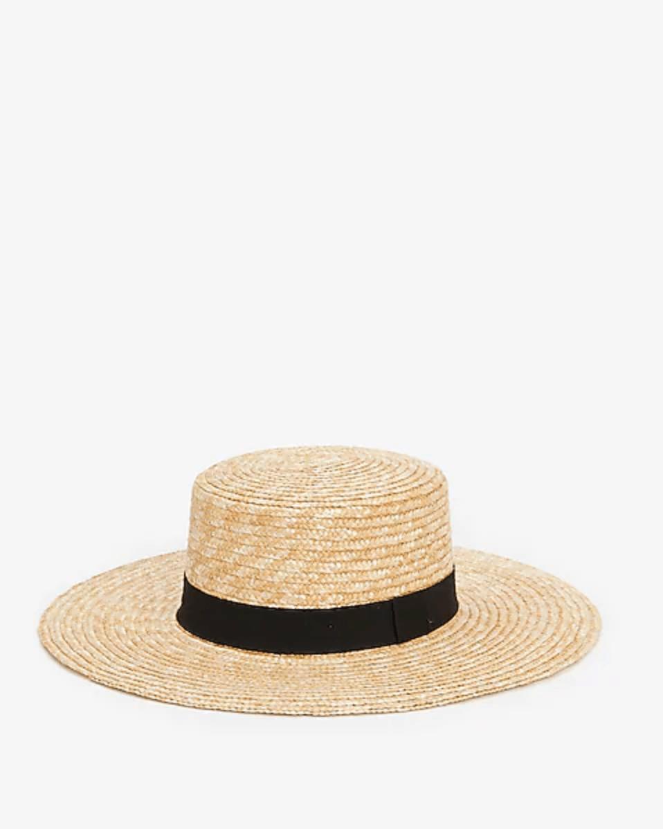 Black Trim Boater Hat