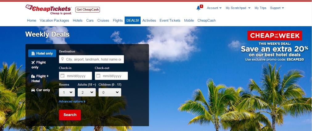 Cheaptickets.com Homepage