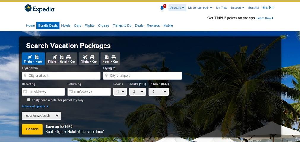 Expedia.com Homepage