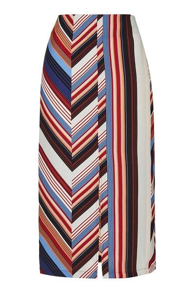Multicolored Striped Deckchair Split Midi Skirt