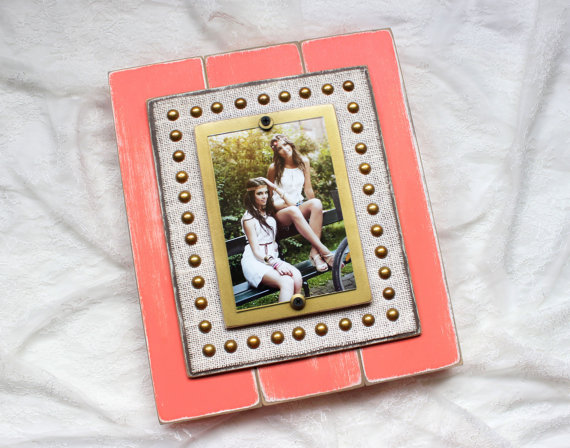 Etsy peach rustic wooden picture frame