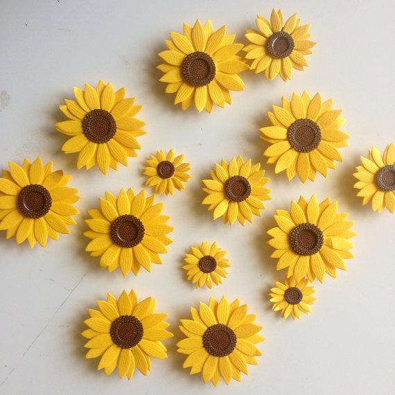 Spring sunflower magnets, Etsy home decor