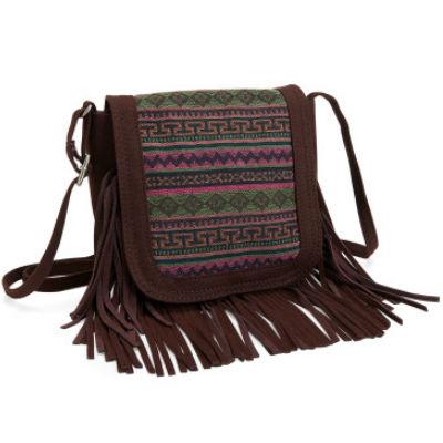 Tribal Fringed Crossbody Bag