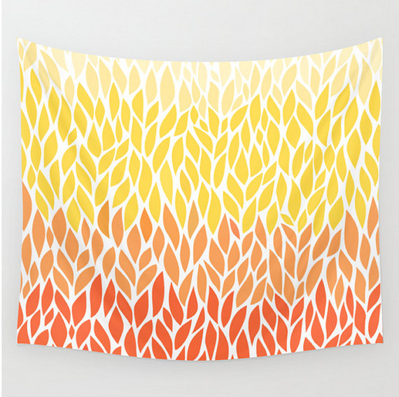 Etsy spring wall tapestry ombre leaves