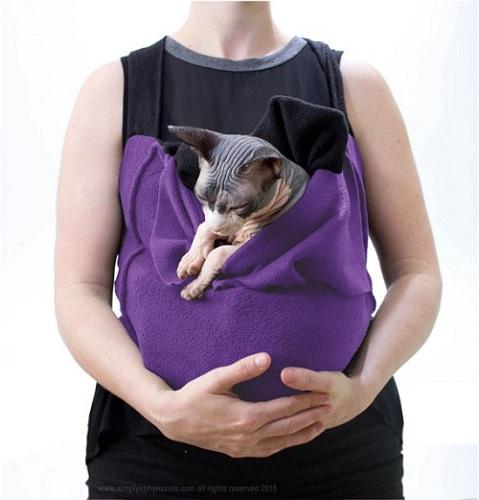 Purple cat sling carrier