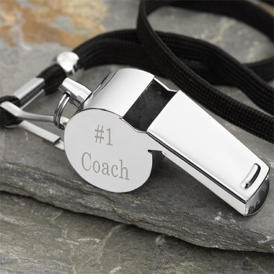 Engraved personalized coach whistle
