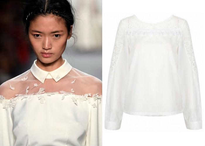 White Sheer Lace Panel Ruffle Detail Long Sleeve Blouse