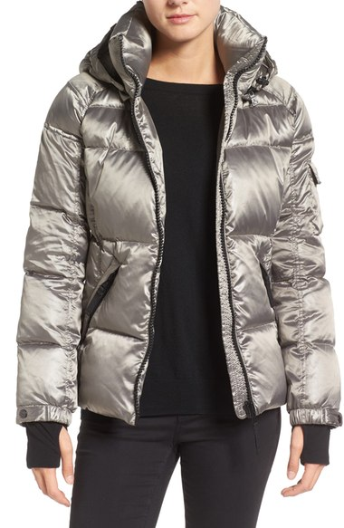S13 'Kylie' Metallic Quilted Jacket with Removable Hood