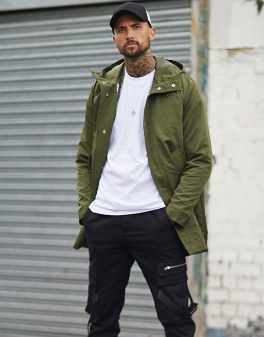 ASOS DESIGN two in one parka in khaki