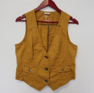 Mustard yellow womens denim vest