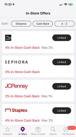 In-Store Cash Back linked