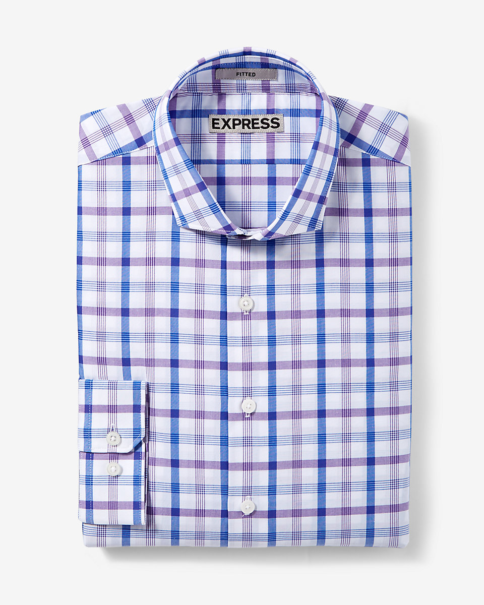 Fitted Plaid Dress Shirt