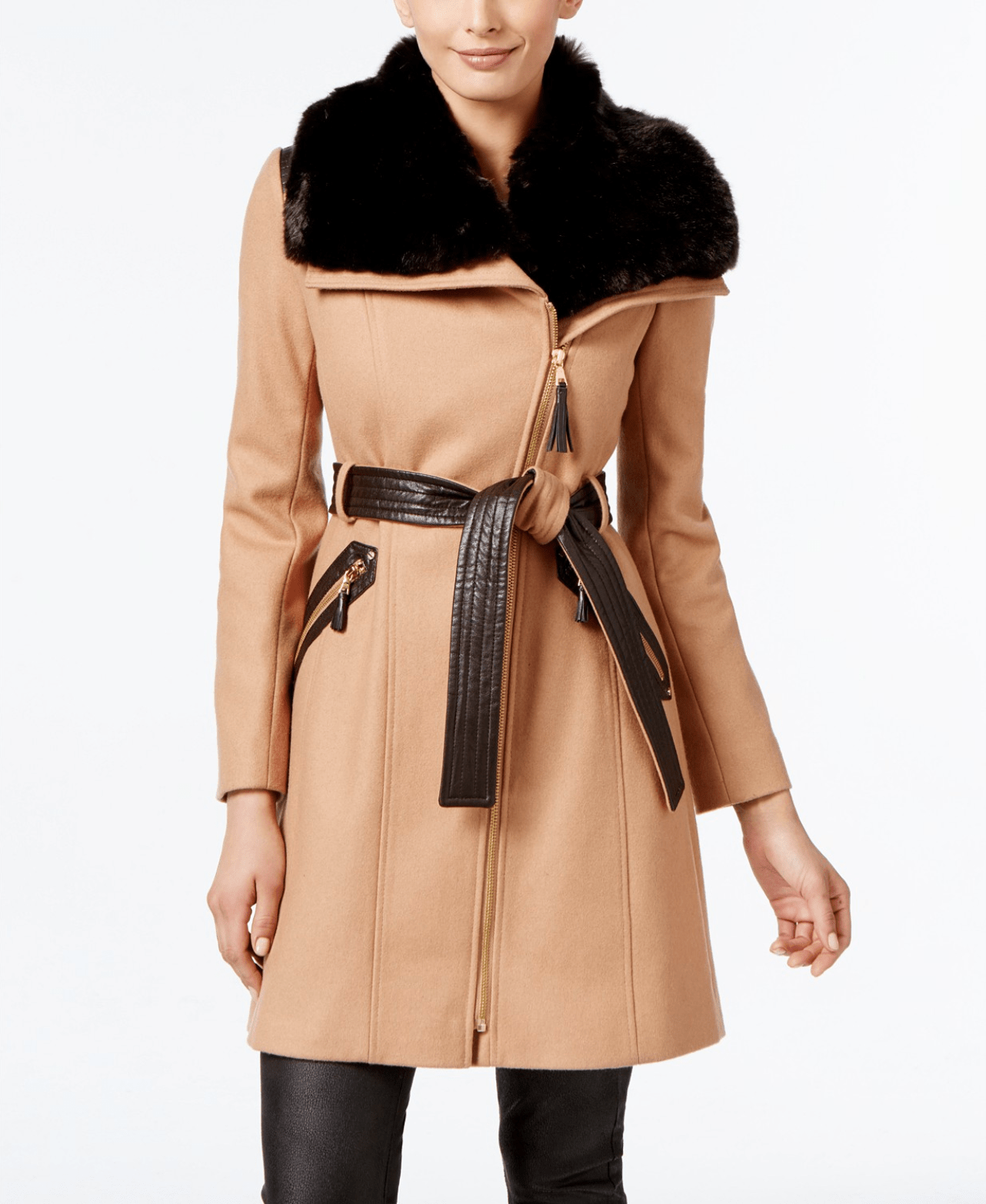 Via Spiga Asymmetrical Belted Coat