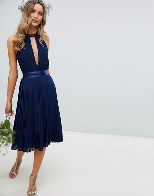 TFNC Pleated Midi Bridesmaid Dress with Cross Back and Bow Detail