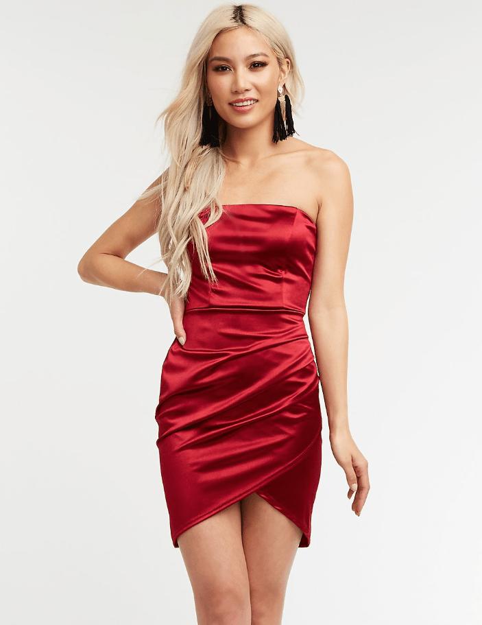 Charlotte Russe Satin Ruched Wrap Mini Dress