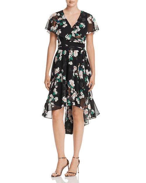 Eliza J Floral Print Faux-Wrap High/Low Dress