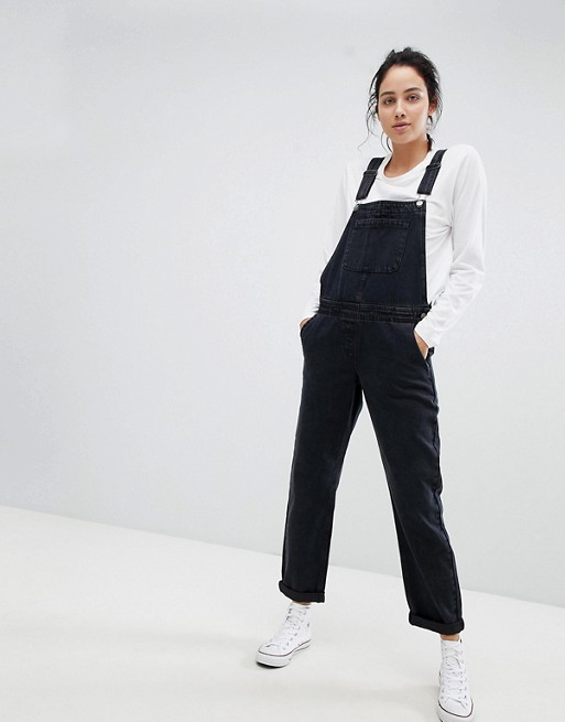 ASOS DESIGN denim overall in washed black