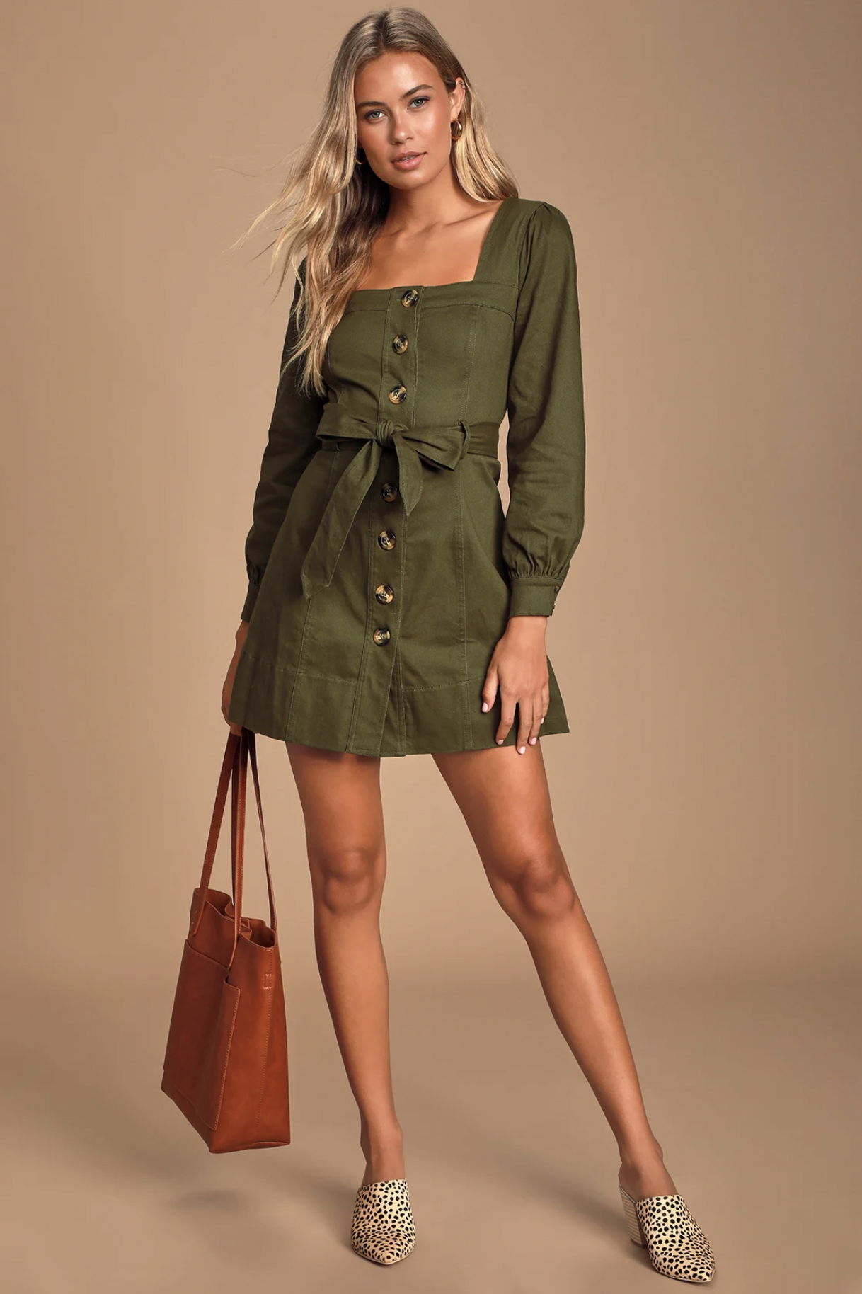 J.O.A. TAYAH OLIVE GREEN LONG SLEEVE BUTTON-UP MINI DRESS