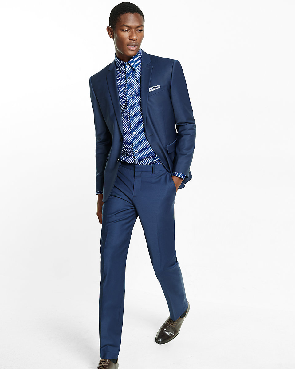 Express Slim Navy Performance Stretch Wool-Blend Suit Pant