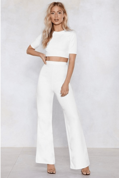 Nasty Gal Settle the Score Crop Top and Pants Set