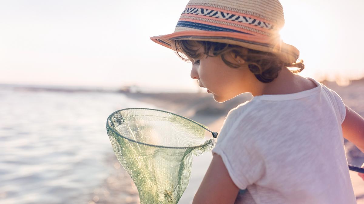 Little boy holding a net