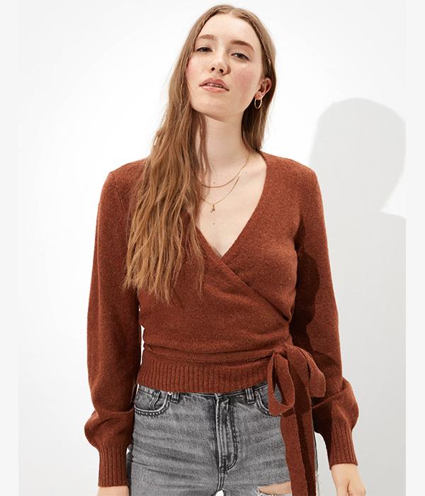 Dreamspun Wrap Front V-Neck Sweater